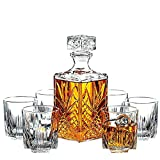 paksh Neuheit 7-teilig Italienische handgefertigten Glas Dekanter & Whisky Gläser Set, eleganten Whiskey Dekanter mit kunstvollem Stopper und 6 280 Exquisite Cocktail Gläser