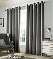 """Plain Woven Grey Lined Blackout 90"""" X 90"""" - 229cm X 229cm Ring Top Curtains from Curtains"""