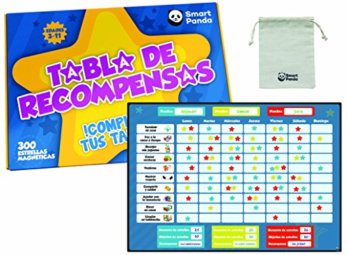 Tabla de Recompensas para Niños - Pizarra Magnética de Estrellas Inspira el Buen Comportamiento - para Pared o Frigorífico. Incluye 20 Tareas Magnéticas y 300 Estrellas – en Español