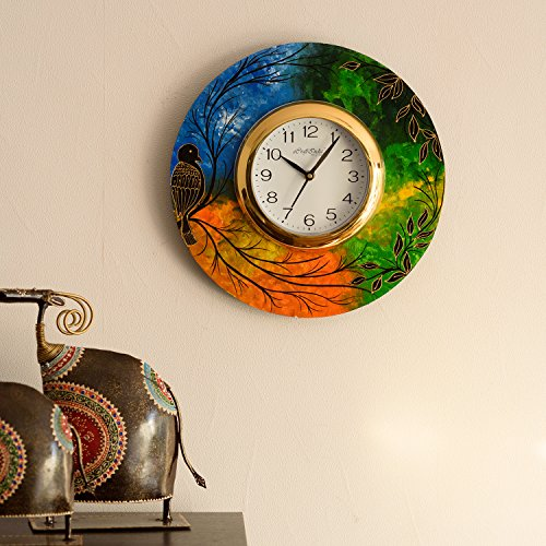 eCraftIndia Beautiful and Colorful Scenery View Wooden Wall Clock (30 cm x 2.5 cm x 30 cm)