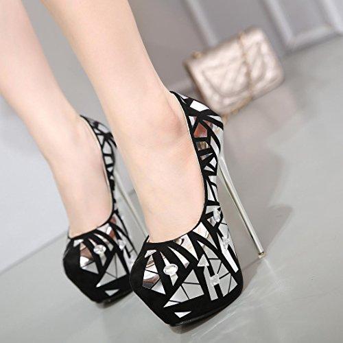 Damen-High Heels-Kleid Party & Festivität-Kunstleder-Stöckelabsatz Plateau-Plateau Komfort Neuheit Gladiator Pumps Modische Stiefel- Black