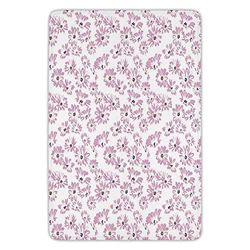 tchen Floor Mat Carpet,Flower,Watercolor Pastel Colored Romantic Florals Petals and Buds Art Print,Light Pink Black and White,Flannel Microfiber Non-slip Soft Absorbent ()