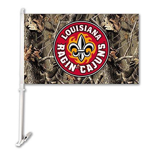 BSI NCAA Louisiana Lafayette Watson 'Cajuns Auto Flagge mit Wand Brackett, One Size, Camo -