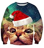 Uideazone Mode-hässliches Weihnachtskatzen-Sweatshirt Männer-Frauen-nettes X-mas Pullover-Hemd,Asia XL= EU L