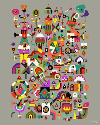 Kleister Art Collective Doohickey Gespannte Leinwand Kunst von Matt Lyon, 24von 30