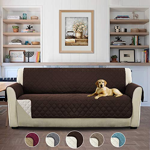 H.Versailtex 3 Seats Cover for Pets Double Sided Anti-Slip Pongis Protective Cover Sofa Armrest Cover, Anti-Dirty, Anti-grab, 190cm × 167cm - Brown