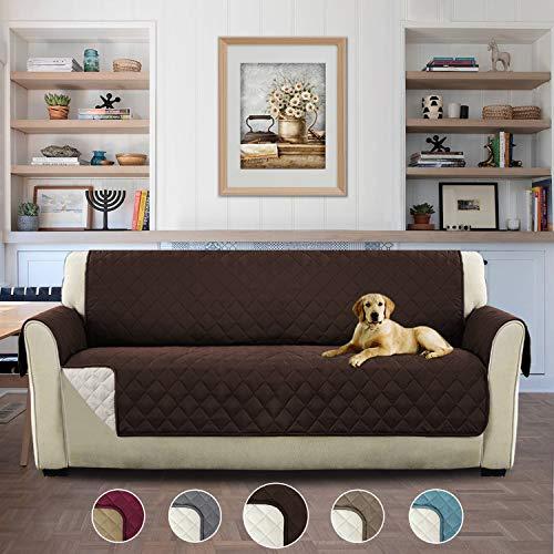 H.versailtex copridivano 3 posti impermeabile divano protector mobili coperture su due lati per cani/gatti letto con divano slipcovers - 3 posti, cioccolato