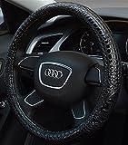 XuanMax Universal Cocodrilo Funda de Volante Coche Cuero Microfibra Piel Respirable Vehiculo Cubierta del Volante Envoltura Protectora Antideslizante Auto Steering Wheel Cover 38cm - Negro