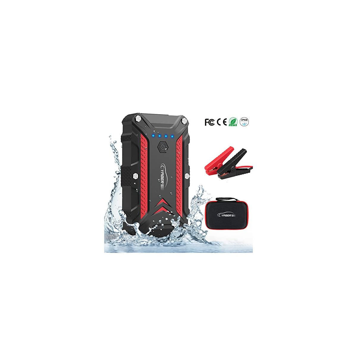 51KG9qIz5PL. SS1200  - Arrancador de Coches, YABER 1200A Arrancador Batería Coche (para 7.5L de Gasolina o 6.0L de Diesel) con IP68 Impermeable, Jump Starter con Carga Rápida QC3.0 Type C y 4 Modos Linterna LED