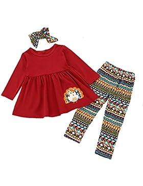 Moresave Los niños de las niñas ropa conjunto bordado de manga larga Tops pantalones diadema 3pcs Conjunto