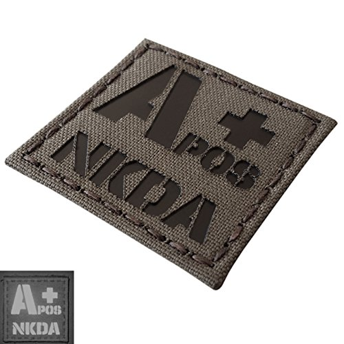 Ranger Green Infrared IR APOS NKDA A+ Blood Type 2x2 Tactical Morale Fastener Patch