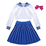Agoky Sailor Moon Cosplay Kostüm Schulmaedchen-Matrose Japan Uniform Solidat Anime Verkleidung Halloween Weinachten Faschingskostüm Weiss&Blau Medium