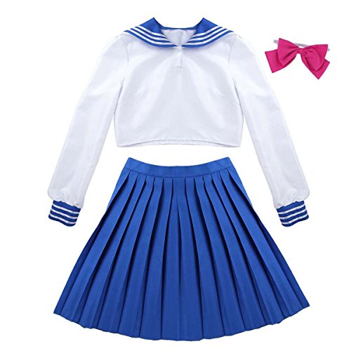 Agoky Sailor Moon Cosplay Kostüm Schulmaedchen-Matrose Japan Uniform Solidat Anime Verkleidung Halloween Weinachten Faschingskostüm Weiss&Blau - Teenager Sailor Kostüm