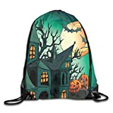 EELKKO Drawstring Backpack Gym Bags Storage Backpack, Haunted Medieval Cartoon Bats In Twilight Gothic Fiction Spooky Art,Deluxe Bundle Backpack Outdoor Sports Portable Daypack