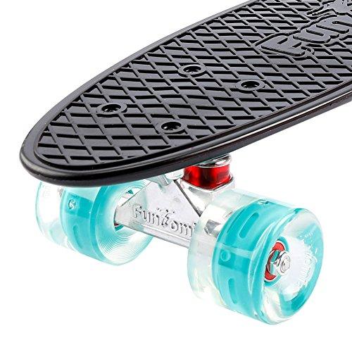 FunTomia® Mini-Board 57cm Skateboard mit oder ohne LED Leuchtrollen inkl. Aluminium Truck und ABEC-11 Kugellager in verschiedenen Farben zur Auswahl T-Tool (Deck in schwarz / Rollen in petrol mit LED + T-Tool + Lenkgummis) -