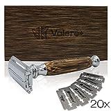 Valere+ Premium Rasierhobel + 20 Klingen | Bambus | Klingenrasierer für Damen/Herren | Damenrasierer | Sicherheitsrasierer