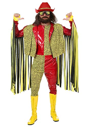 Macho Savage Randy Kostüm - Randy Savage Macho Man Fancy Dress Costume Adult WWE Fancy Dress Costume Small