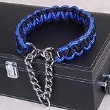 KANEED Hundehalsbänder, Geschirre, Großer Hund Deutscher Schäferhund Walk the Dog P Halsbandhalsband für mittlere und große Hunde, Farbe: Blau Schwarz (XL) (Farbe : XL)