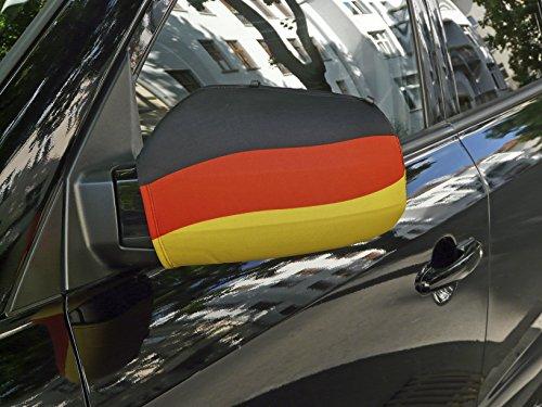 WM 2018 Fußball Fanartikel Deutschland hochwertiges 2er Set Autoflagge stabil Autospiegel...