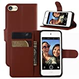 iPod Touch 5 / 6 Hülle, iPod Touch 5G / 6G Hülle, HualuBro [All Around Schutz] Premium PU Leder Wallet Flip Handy Schutzhülle Tasche Case Cover mit Karten Slot für Apple iPod Touch 5 / 6 Generation Smartphone (Braun)