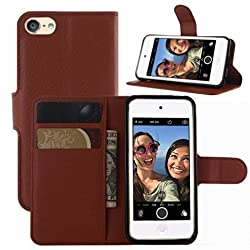 Ipod Touch 5th 6th Gen Case, Ipod Touch 5 6 Case, Hualubro [All Around Protection] Pu Leather Wallet Flip Phone Protective Case Cover For Apple Ipod Touch 5th 6th Generation (Brown)