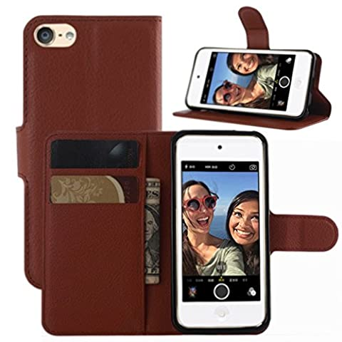 iPod Touch 5th / 6th Gen Case, iPod Touch 5 / 6 Case, HualuBro [All Around Protection] PU Leather Wallet Flip Phone Protective Case Cover for Apple iPod Touch 5th / 6th Generation (Brown)