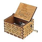 Evelure Boîte à Musique à manivelle en Bois Antique sculpté boîte décorative Cadeau Joyeux Anniversaire Cadeau