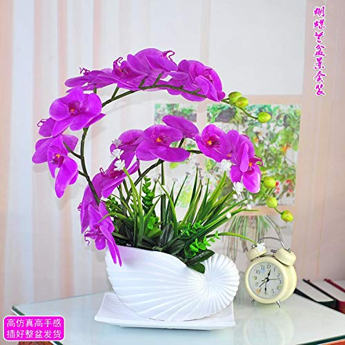 WANGLETA Künstliche Blumen Pu-Motte Orchid Pot royal Blue Red Cabbage Palm Bonsai Künstliche Blumen für Wohnkultur, Hochzeit, Partys, Büros, Restaurants Wohnzimmer Schlafzimmer (Royal Blue Orchids)