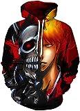 AMOMA Herren Realistic Anime Hoodie Unisex Dragon Ball Naruto Bleach 3D Digitaldruck Sweatshirt Kapuzenpullover Hoodies(S/M,BleachSkull)