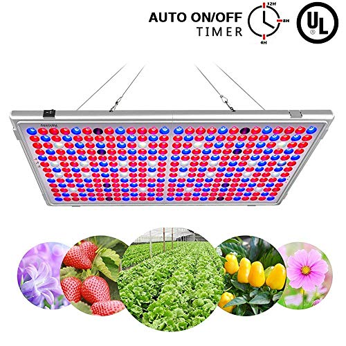 Bozily klappbare 300W LED Pflanzenlampe, Sonnenähnliche Vollspektrums Pflanzenlampe, 338 LEDs Übergröße, Automatische Timingfunktion für Aussaat, Wachsen, Blühen und Gemüsepflanzung