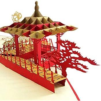 Dragon Boat Medigy 3d Pop Up Cartes de v/œux Cartes vierges pour la plupart des Occastions Black Boat