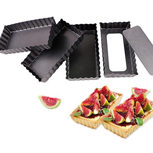 Webake 4,5 Zoll Quicheform Obstkuchenform mit entfernbarem Hebeboden aus Stahl rechteckig Antihaftbeschichtung Tortenform Boden 4er Pack
