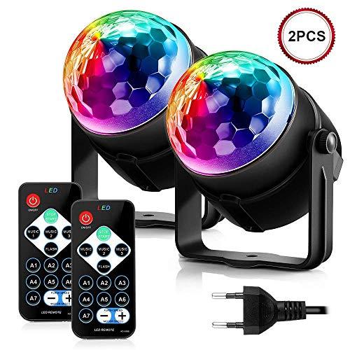 Discokugel, ACCEWIT Mini LED Disco Lichteffekte Partylicht Bühnenbeleuchtung 7 Farbe RGB Magic Ball Bühnenlicht mit der Fernbedienung für DJ...