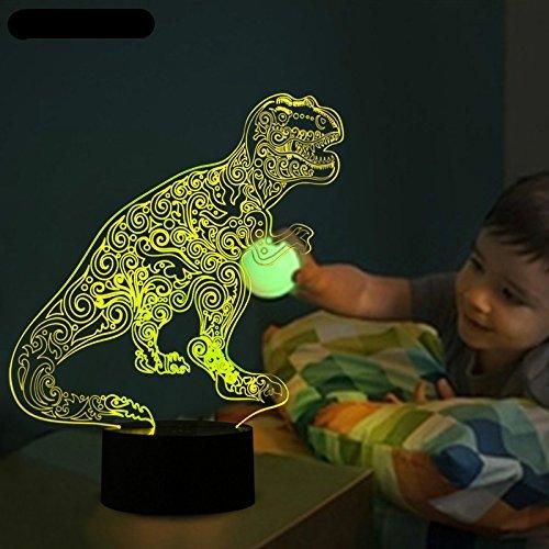 3D dinosaurier Optische Illusions-Lampen, Tolle 7 Farbwechsel Acryl berühren Tabelle Schreibtisch-Nachtlicht mit USB-Kabel für Kinder Schlafzimmer Geburtstagsgeschenke Geschenk
