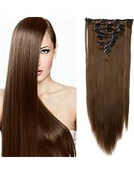 "23"" Extensions Cheveux Clips 8 Bandes - Extension a Clip Cheveux Lisse - Clip in Hair Extensions 58cm (23 pouces) - Marron Clair"
