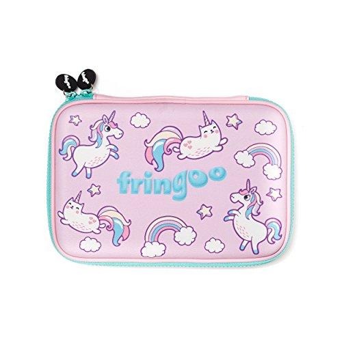fringoo® Mädchen Jungen Kids Hartschalenmäppchen Cute geprägt Hülle Große mehrere Stationery Organizer Large Back To School - Hardtop Unicorns & Cats - Hardtop