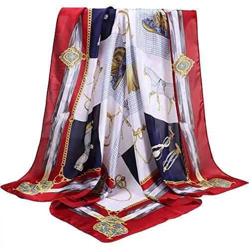 Joinfun Damenschal Halstuch Bandana Vintage Seidentuch Pferd Seidenschal Elegant Kopftuch Quadratischer Schal Muttertag Geschenk 90 * 90cm -