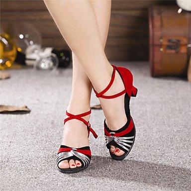 XIAMUO Nicht anpassbar - Die Frauen tanzen Schuhe moderne Wildleder/Paillette Cuban Heel Outdoor mehr Farben Schwarz und Silber