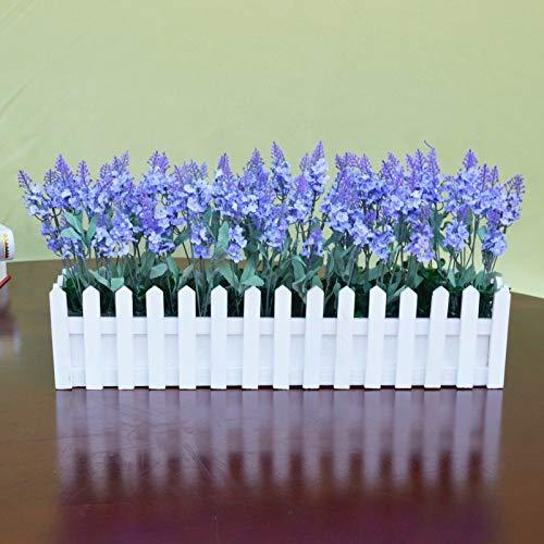 BonSai, Simulation der grünen Pflanze Lavendel gefälschte Blumenkunst Holzzaun BonSai Innenwohnzimmer Hauptdekorationen 50cm White Fence s/Licht lila Lavendel
