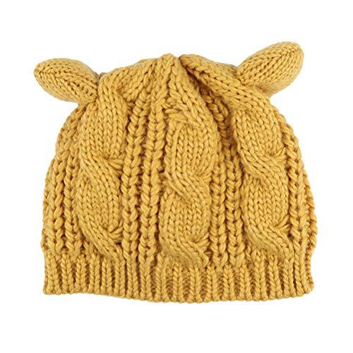 Kabel Stricken Baumwolle Hut (VORCOOL Frauen Damen Mädchen Katze Ohr Beanie Stricken warme Mütze Pullover Hut für den Winter (gelb))