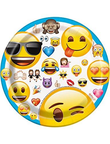 8 Assiettes en carton Emoji 17,5 cm - taille - Taille Unique - 235959
