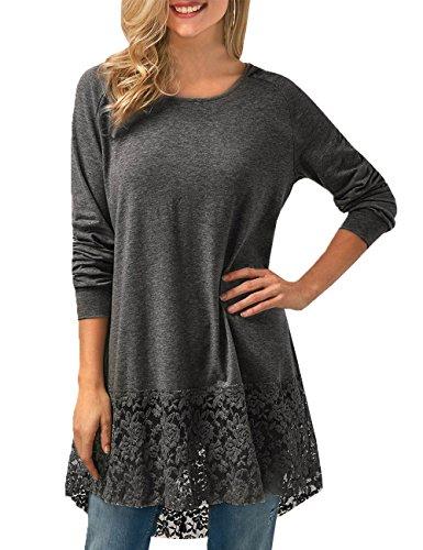 Junshan Damen Elegante Tunika Langarm Lace Kapuzen Bluse Oversize Casual Baumwolle Pullover Langarm Lace Stitching t-Shirt Herbst Winter Frühling (42, Grau) (T-shirt Kirche Rosa)