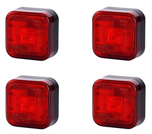 4 x 4 SMD LED Rot Begrenzungsleuchte Umrissleuchte 12V 24V mit E-Prüfzeichen Positionsleuchte Auto LKW PKW KFZ Lampe Leuchte Licht Hinten Universal (4x4-licht Bar)