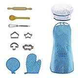 Chef - Juego de utensilios de cocina para niños (11 piezas, incluye delantal, gorro de chef, otros accesorios para niños y niñas azul azul