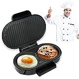 HWJF Mini 2 Slice Double Round Macchina per la Colazione, Sandwich, Bistecca, Wafflie, Barbecue, PANINI Maker, Pizza, Piastre antiaderenti / 750W / Acciaio Inossidabile e Nero