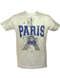 Souvenirs de France - T-Shirt Homme Paris Tour Eiffel - Couleur : Gris