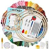 MAKEASY 205 PCS Stickerei Set,Stickerei Starter Kit, 100 Farbfäden, 40 Nähnadel, 3 PCS Aida Tuch, 5 PCS Bambus Stickrahmen, K
