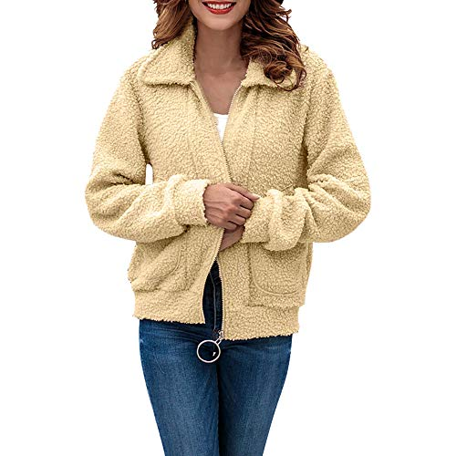 IZHH Damen Mantel, Frauen Casual Turn-Down Plüsch Mantel Outwear Langarm Reißverschluss Strickjacke Mantel Frauen Strickjacke Strickjacke Langarm Sweatshirt(Beige,Large