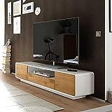 Pharao24 TV Unterschrank in Weiß mit Eiche furniert 170 cm breit
