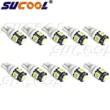 501 W5W 194 168 2825 T10 Wedge 5-smd 5050 White High Power Car Led Lights Bulb,brighter,green Energy, Lower Heat, Eco-friendly,better Quality,longer Life(Pack of 10)